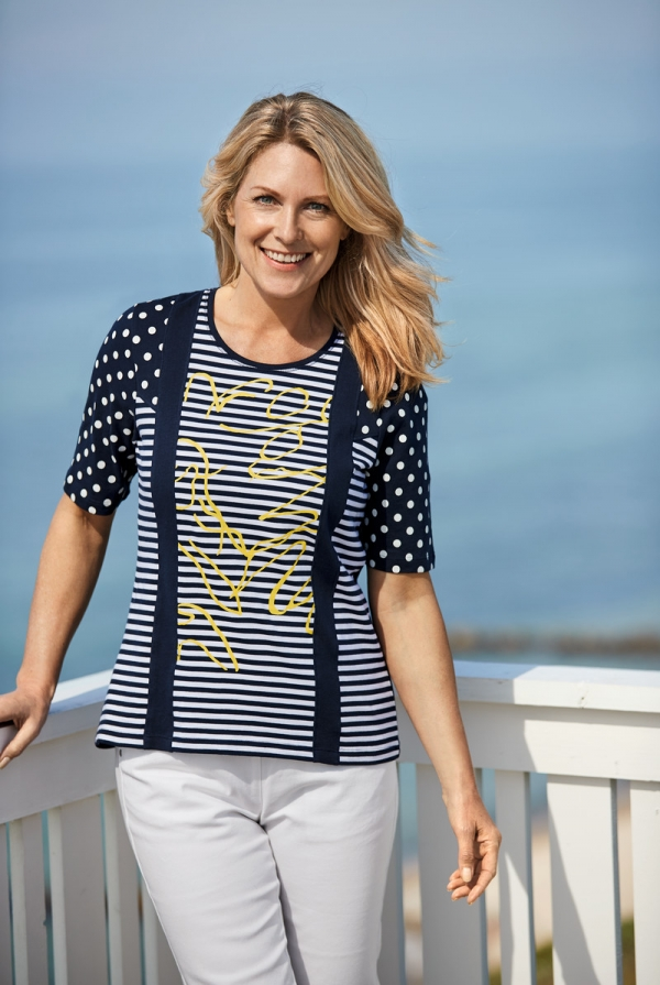 ... highlight the timeless navy trend, and with the gorgeous yellow  colours, flax fabrics and dots, the collection features both feminine and  cool elements.